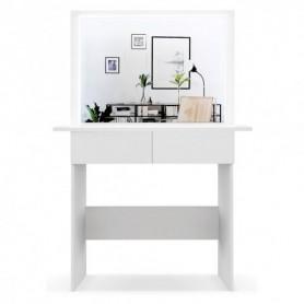 Schminktisch Frisiertisch Melanie Kosmetiktisch Weiß / Sonoma Eiche LED Beleuchtung