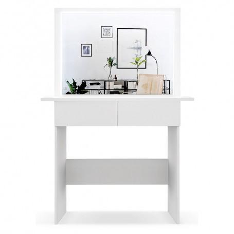 Schminktisch Frisiertisch Melanie Kosmetiktisch Weiß/ Sonoma Eiche LED Beleuchtung