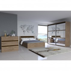 Schlafzimmer-Set Latte mit Kommode