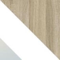 Eiche Sonoma + Weiß Glas Einsatz + Spiegel
